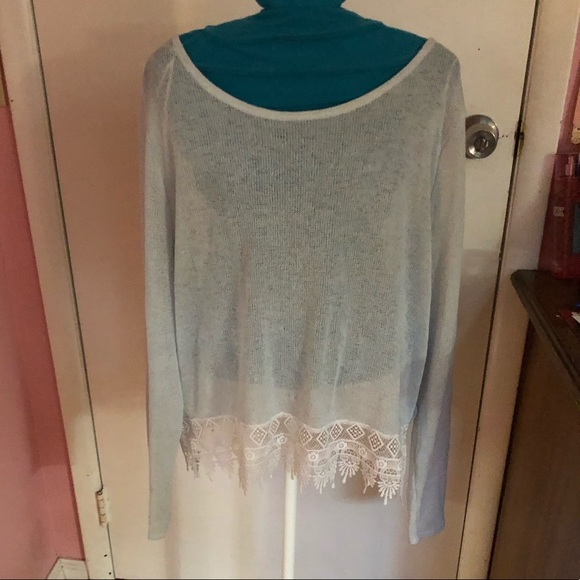 H&M Sweaters - Baby Blue Lace Sweater